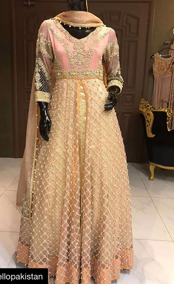golden frock designs Mehndi Dresses 2018