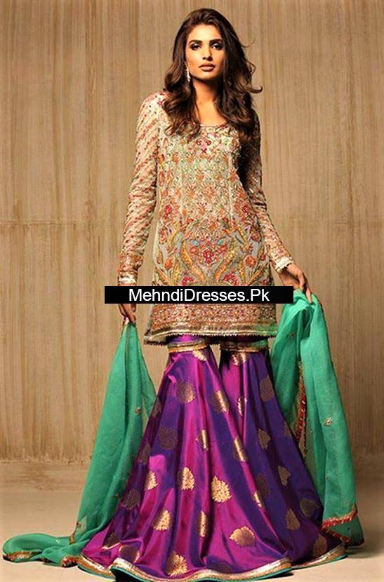 Imported Silk Pakistani Bridal Sharara Mehndi Dresses Styles