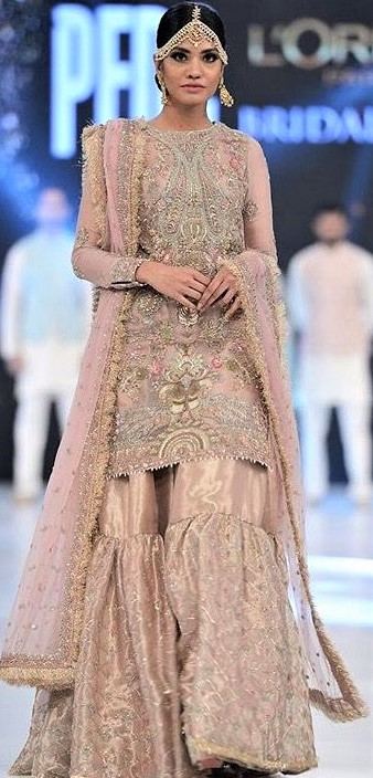 Pakistani Dulhan Embroidery Sharara Mehndi Dresses Styles