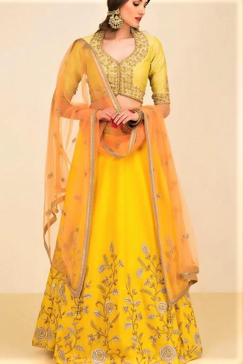 Bnaras Dupatta Anarkali Mehndi Dresses Designs