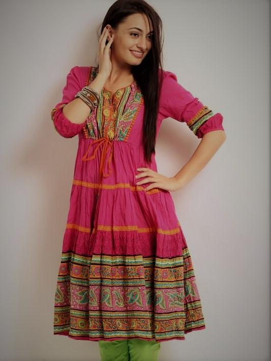 Angrakha Style Frocks Kurti Designs Mehndi Dresses 2018