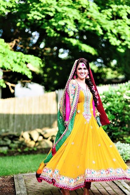 Anarkali yellow Mehndi Dresses Designs