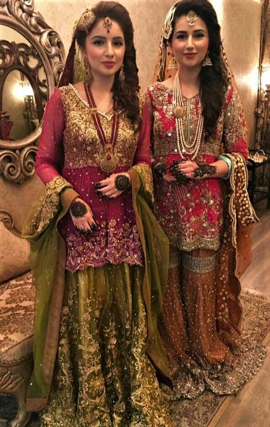 Asian long Wedding Mehndi Dresses