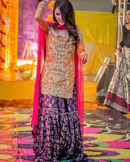 Asian sharara Wedding Mehndi Dresses