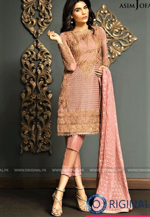 Casual wear Asim Jofa Mehndi Dresses Chiffon Collection