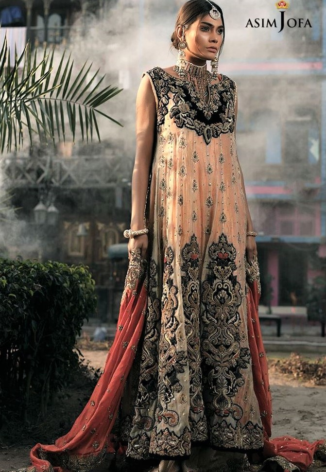 Pakistani embroidery Asim Jofa Mehndi Dresses Chiffon Collection