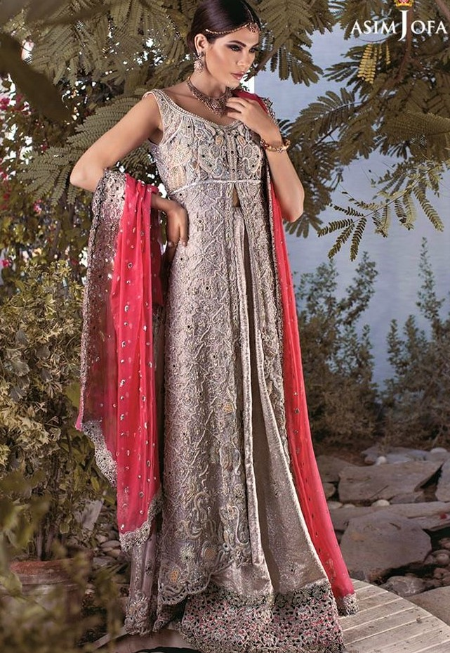 semi formal Asim Jofa Mehndi Dresses Chiffon Collection