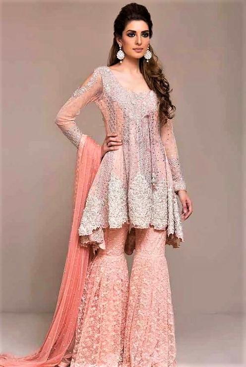 Beautiful Embroidery Pakistani Bridal Sharara Mehndi Dresses Styles