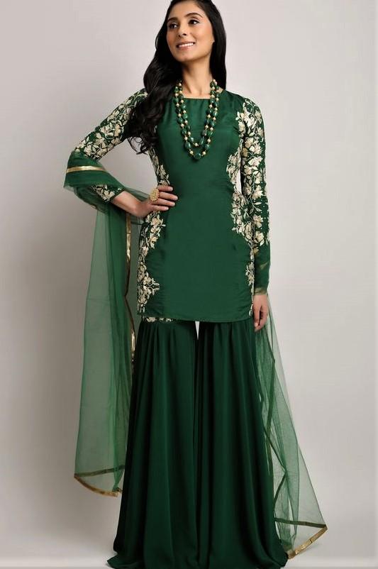 Black Pakistani Bridal Sharara Mehndi Dresses Styles