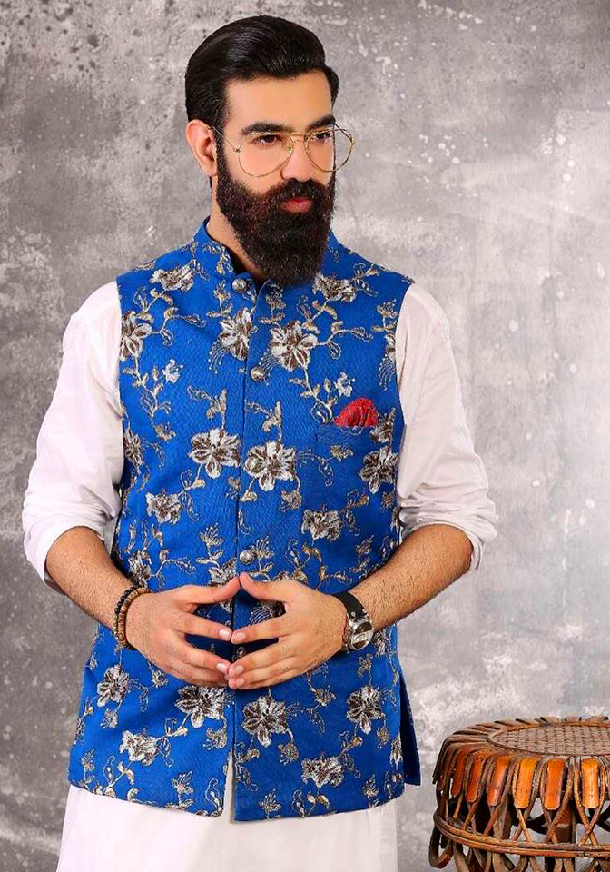 Blue Flowers Printed Mens New Kurta Waistcoats Mehndi Dresses