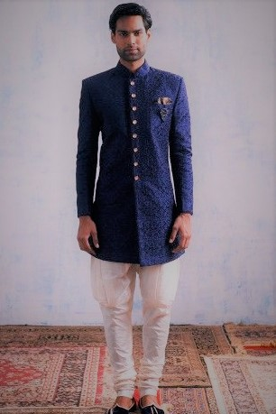 Blue colour Angrakha Style Kurta Design Mehndi Dresses