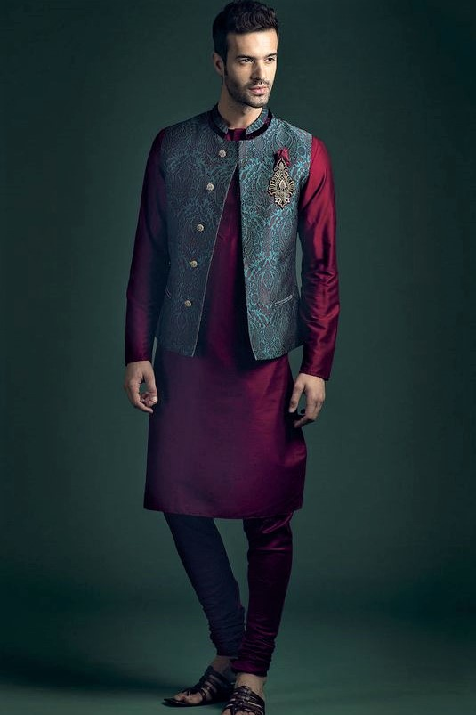waist coast and kurta design Mehndi Dresses for Boys