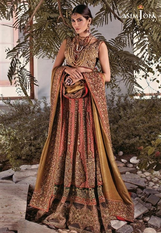 Bridal lehnga wear Asim Jofa Mehndi Dresses Chiffon Collection