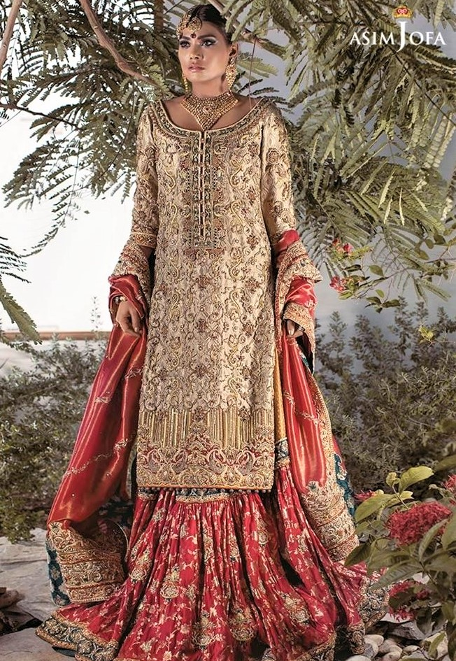New Asim Jofa Mehndi Dresses Chiffon Collection for brides