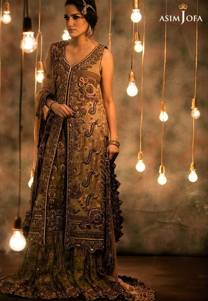 Brides best Asim Jofa Mehndi Dresses Chiffon Collection