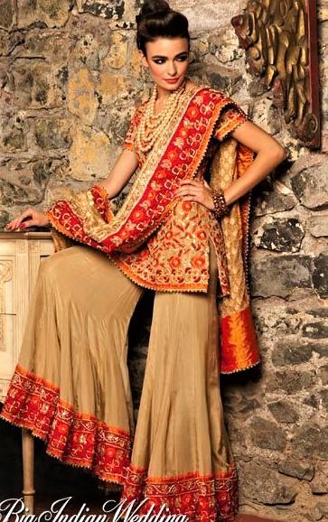 Cotton Girls Mayon Pakistani Bridal Sharara Mehndi Dresses