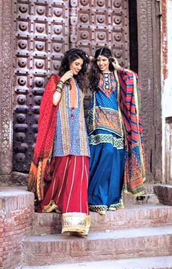 Girls Blue Sharara Mehndi Dresses Styles Pakistani