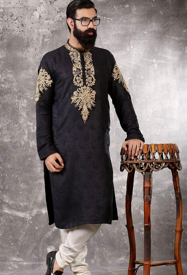 golden self printed Mens New Kurta Waistcoats Mehndi Dresses