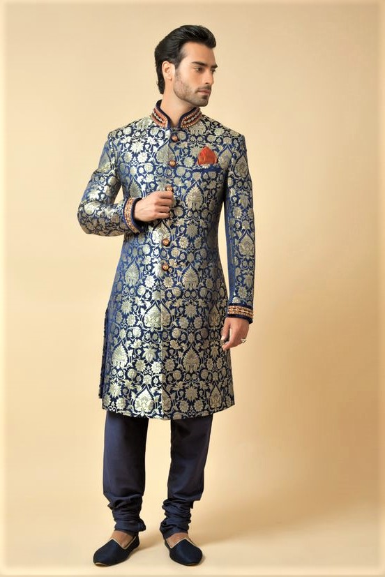 Jamawar kurta Mehndi Dresses for Boys