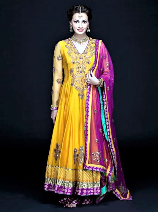 Anarkali latest fashion Mehndi Dresses Designs