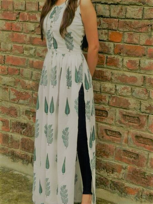 Lawn angrakha style frock designs