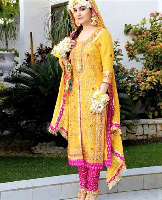 embroidered Mehndi dresses for Girls