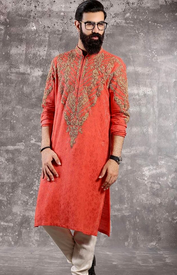 Orange karhai Mens New Kurta deisngs