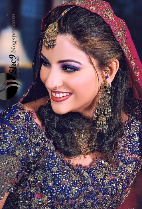 bridal purple dress and makeup shades styles