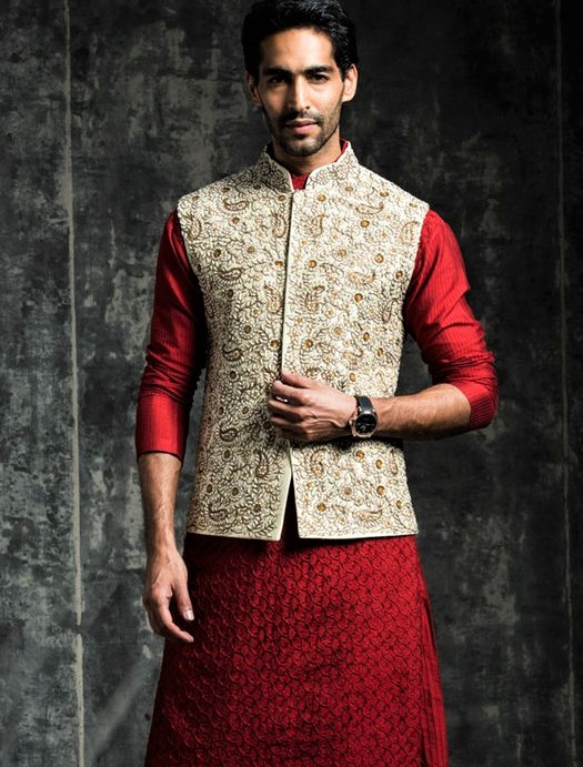 red white Mehndi Dresses for Boys