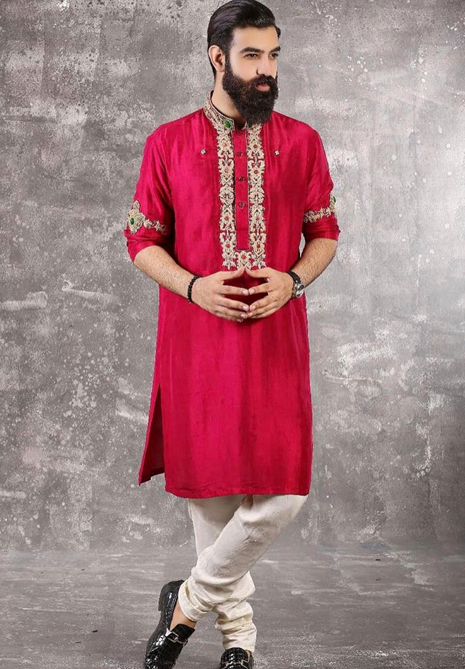 red gala pati Mens New Kurta Mehndi Dresses
