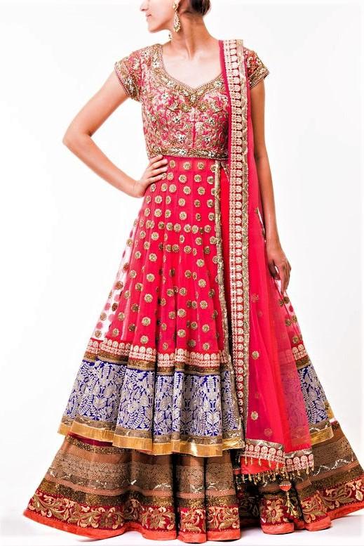 angrakha style kurta design pakistani red lacha