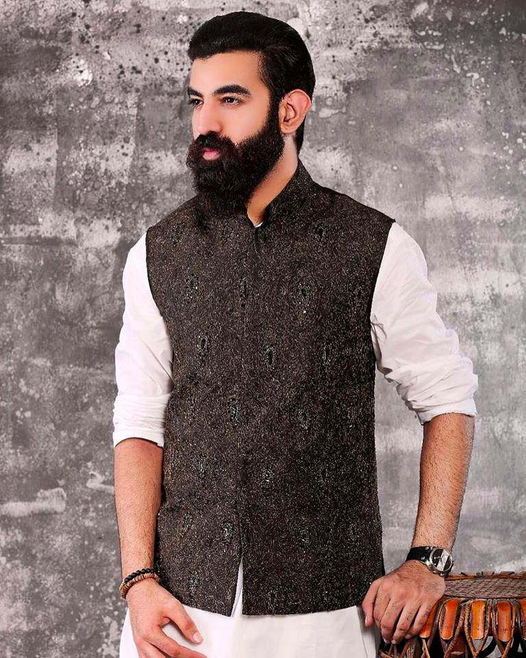 Shiny Black Mens New Mehndi Waistcoat design