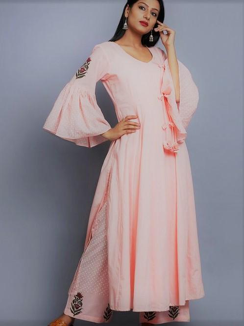 White kameez Angrakha Style Mehndi Dresses