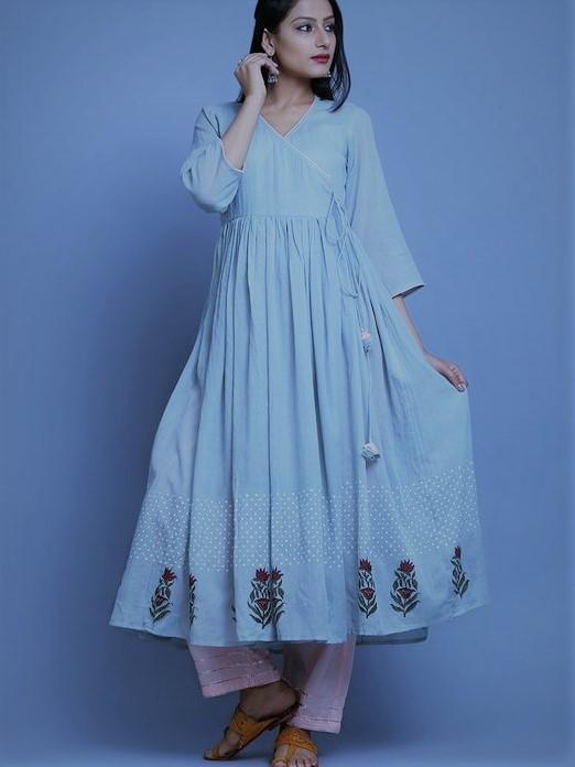 White pattern Angrakha Frock Designs Mehndi Dresses