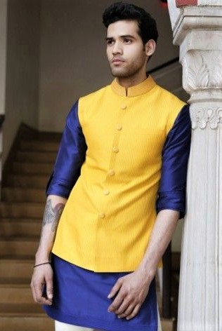 yellow and green Mehndi Dresses for Boys
