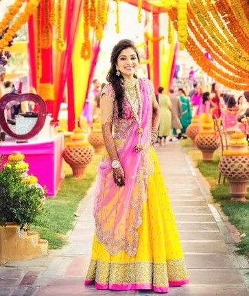 At Wedding We Seem That Yellow And Shocking Pink Mehndi Dress Is A Most Wearing Style Today Variant Variety In This Combination Available Market