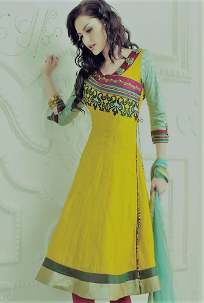 Yellow Angrakha outfit Style Mehndi Dresses
