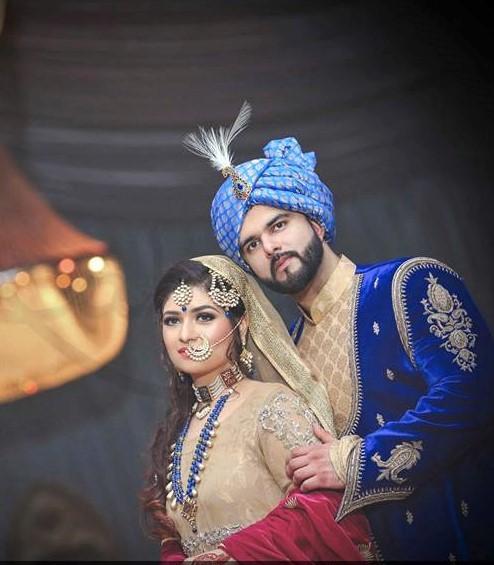 Blue colour Mehndi Dresses Wedding Couple