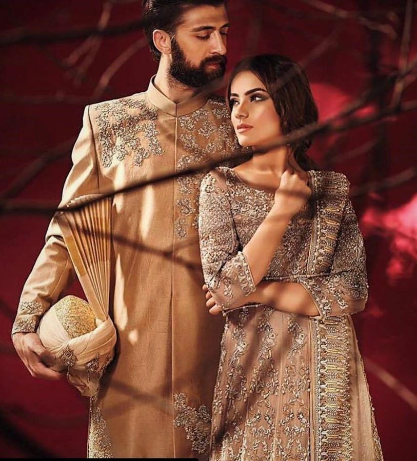 Fancy Mehndi Dresses Wedding Couple