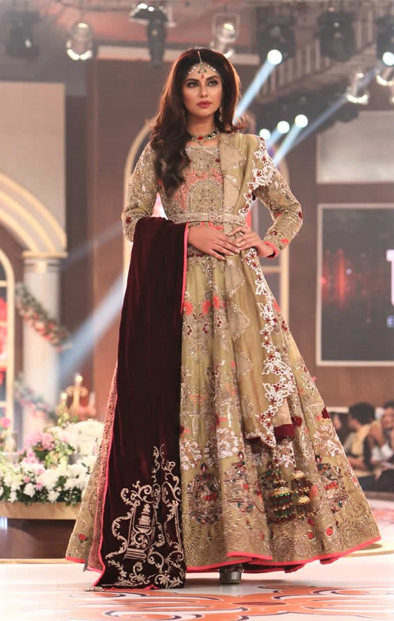 embroidery latest frock mehndi dress by Erum Khan