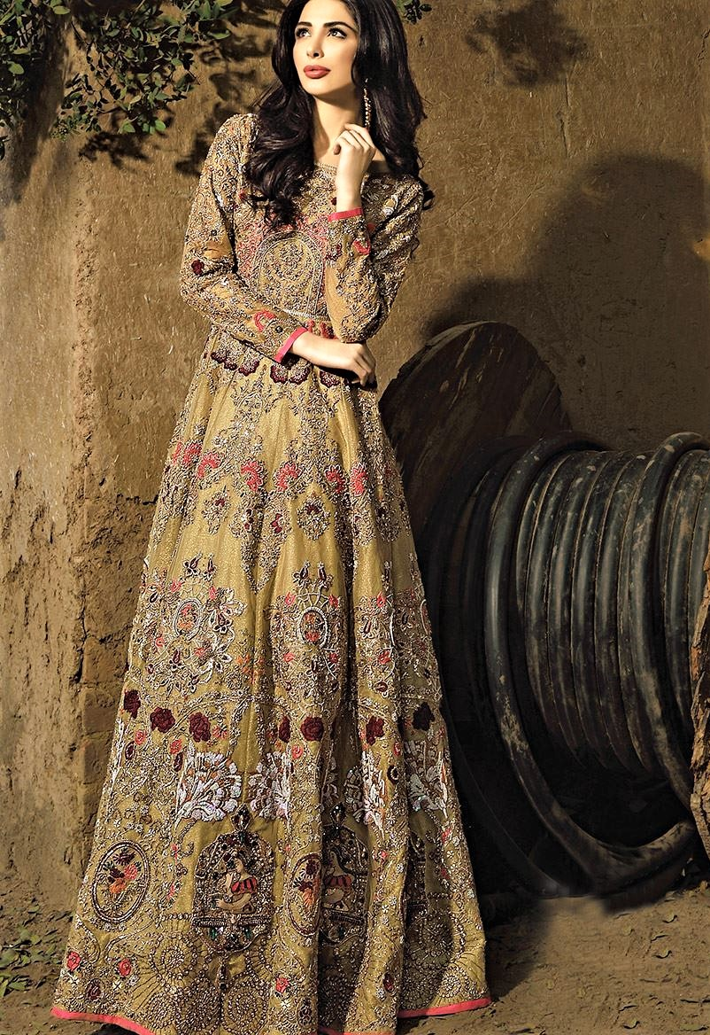 Erum Khan Mehndi frock bridal outfit