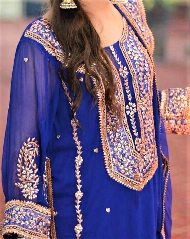 pati hand Gota Work Pakistani Mehndi Dresses