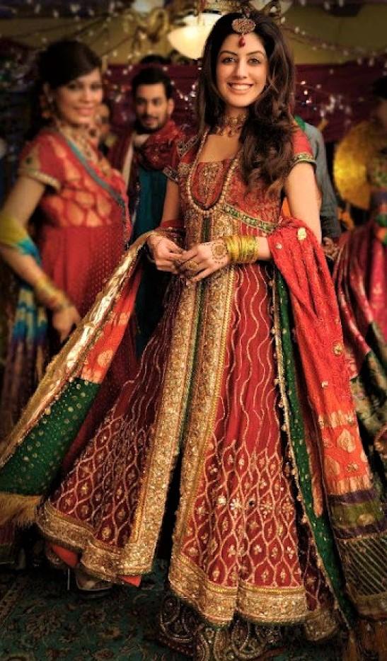 Gota Work bell frock Pakistani Mehndi Dresses