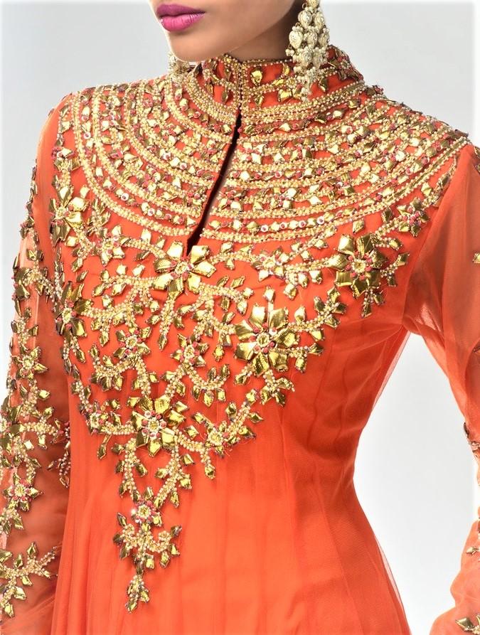 latest Gota Work Pakistani Mehndi Dresses designs