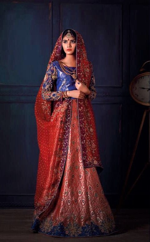 royal blue and red colour combination silk dress for mehndi