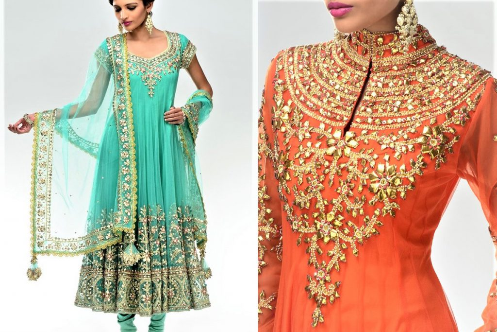 Amazing Gota Work Pakistani Mehndi Dresses Designs
