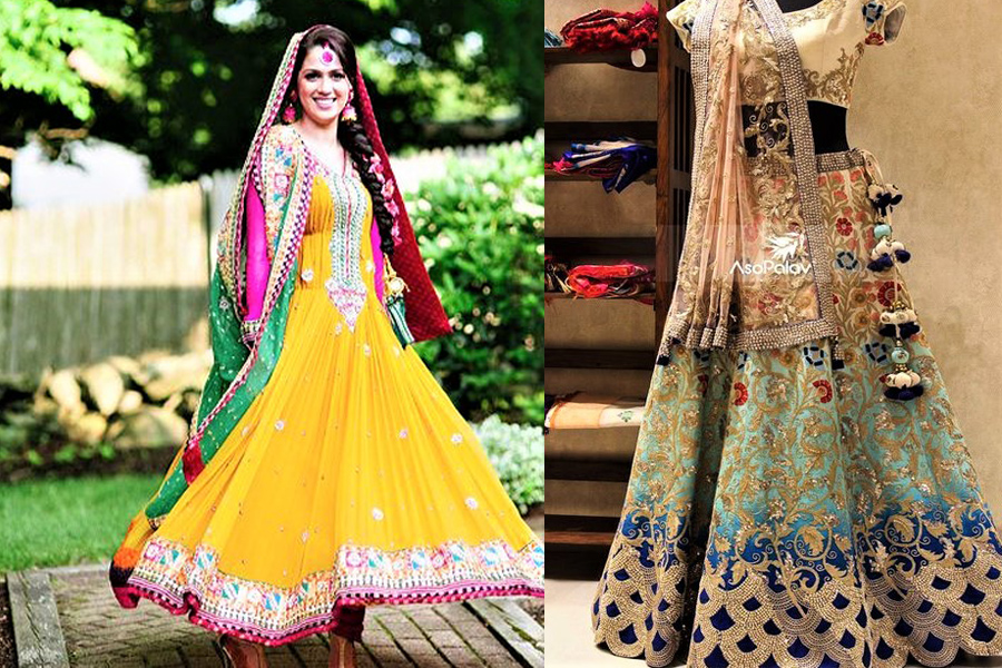 New Anarkali Mehndi Dresses Frocks Designs for Girls