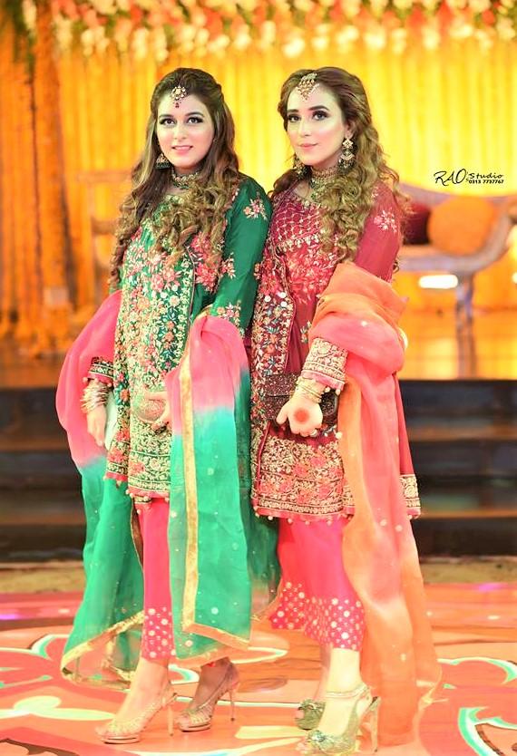 embroidery work Pakistani Mehndi Dresses Bridal Sisters