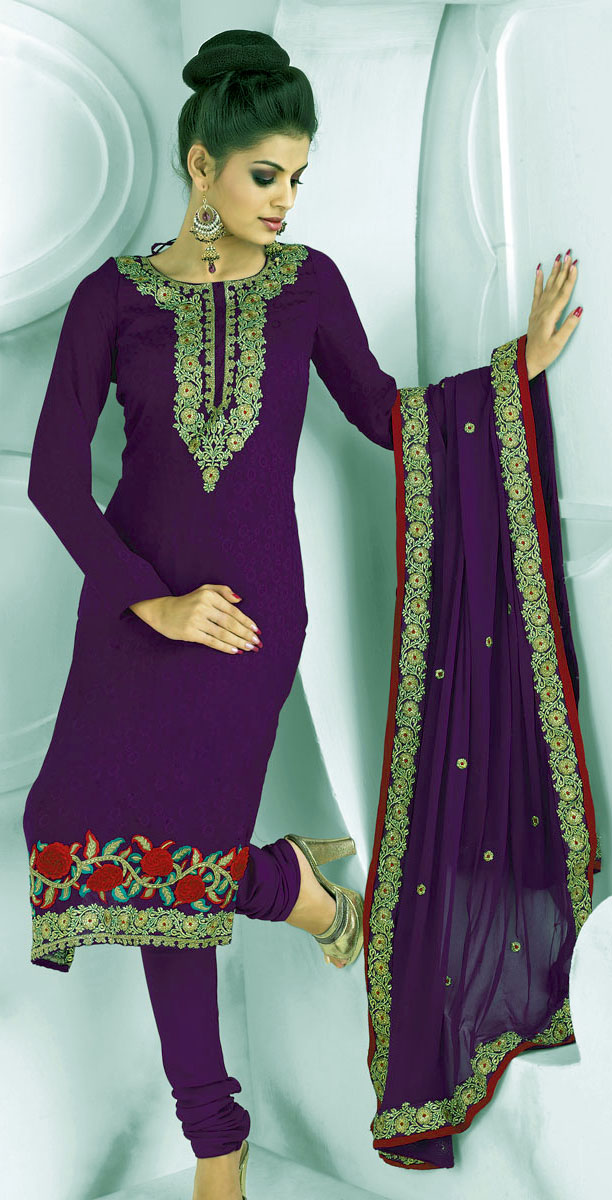 Purple Pakistani Mehndi Dresses Simple Salwar Kameez