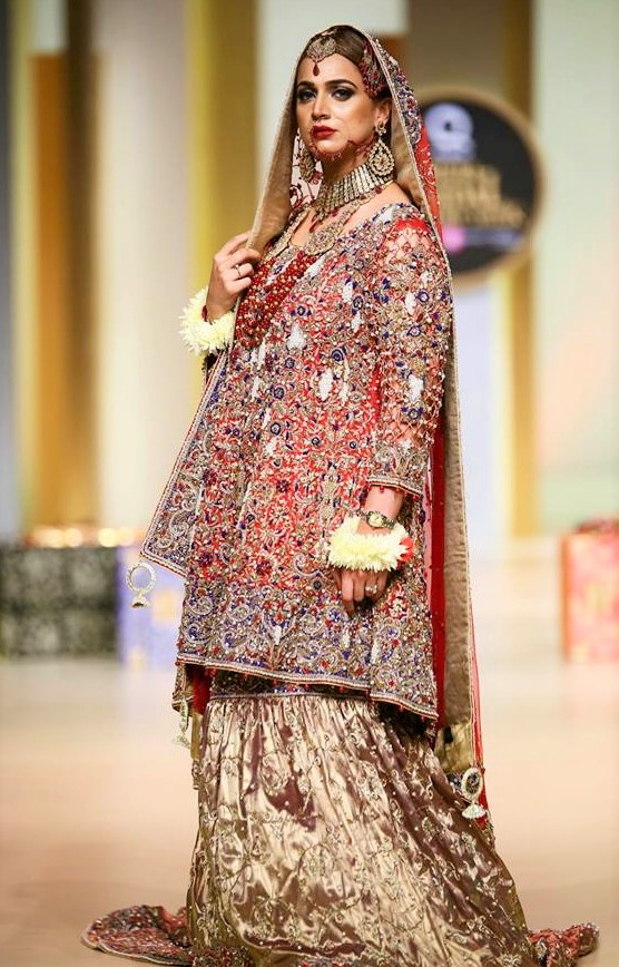 Girls beautiful pantene bridal couture week mehndi dresses